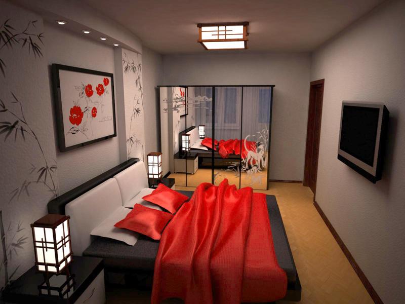 стильная с красной кроватью