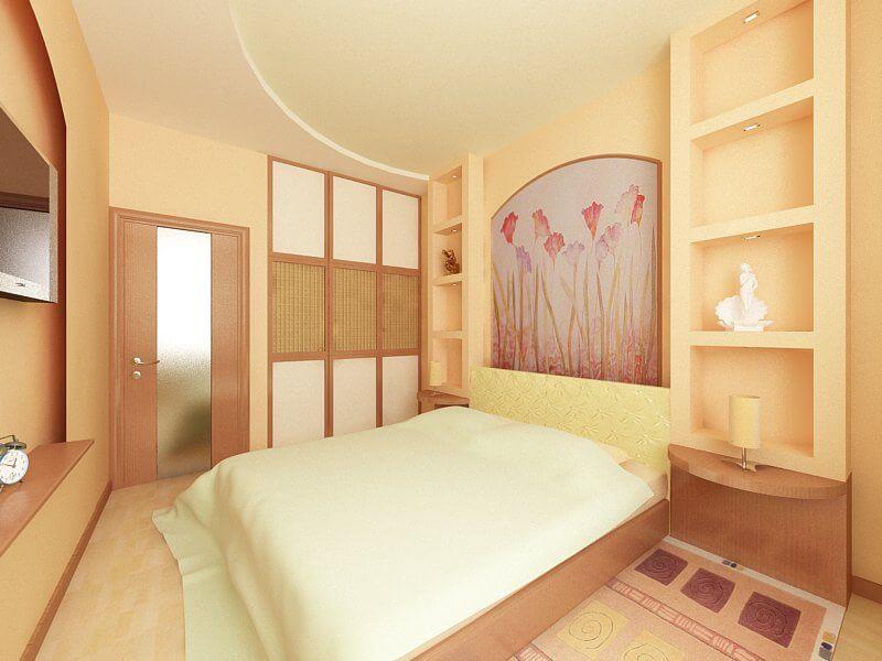 узкая спальная комната