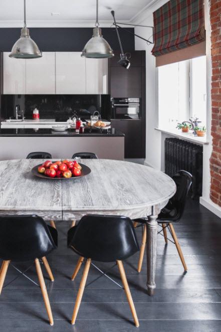 черно-белая кухня-студия