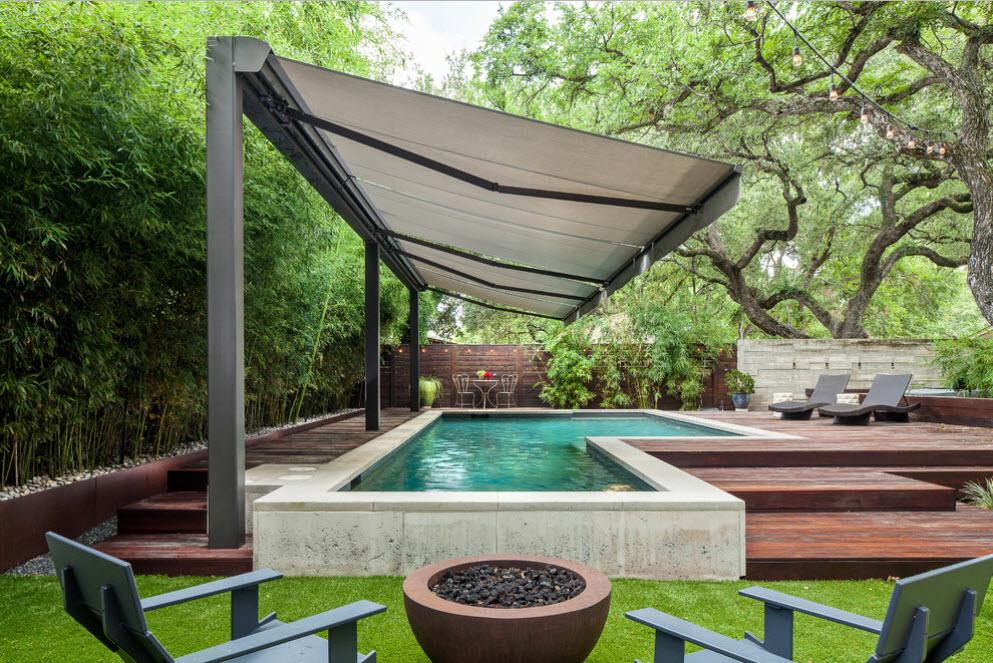 шатровой навес над бассейном