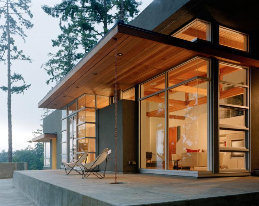 горизонтальный деревянный навес