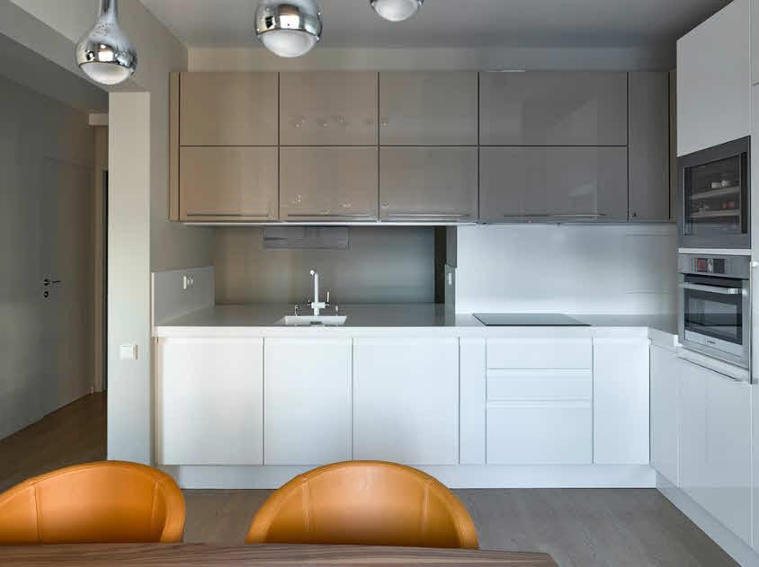 белый, кофейный, коричневый цвет на кухне