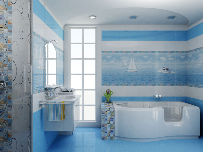 ванная в голубых тонах