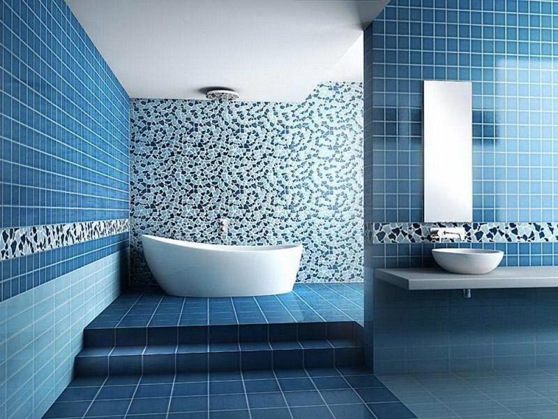 ванная синего цвета