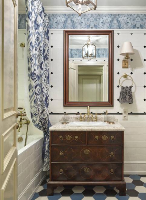 ванная с синими оттенками