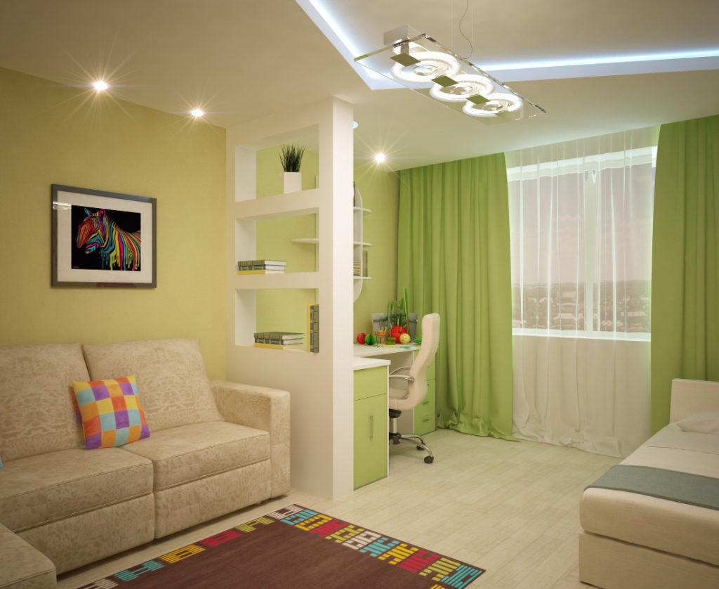 гостиная с зелеными оттенками