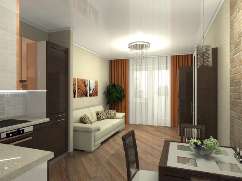 гостиная с кухней в квартире-студии