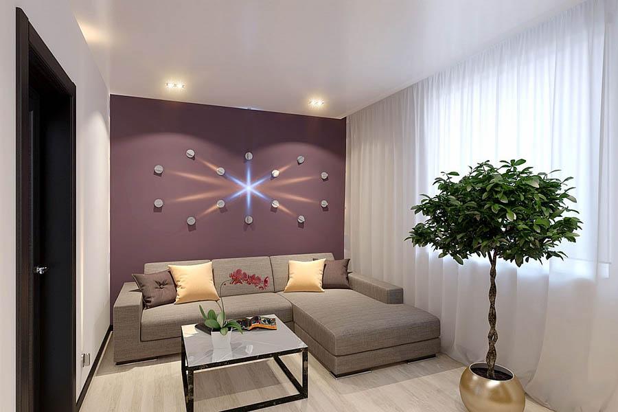 гостиная с фиолетовой стеной