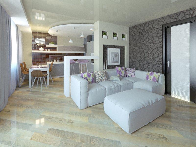 декор стен в современном дизайне гостиной