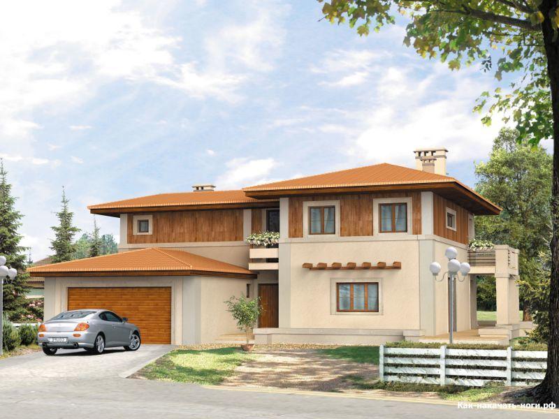 домик с крышей из красной черепицы