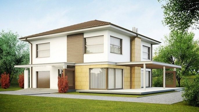 дом белого цвета с большими окнами