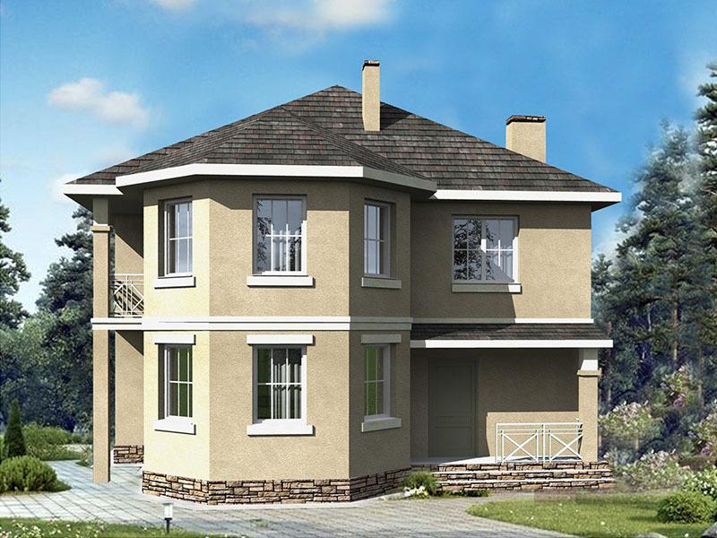 дом интересной геометрической формы
