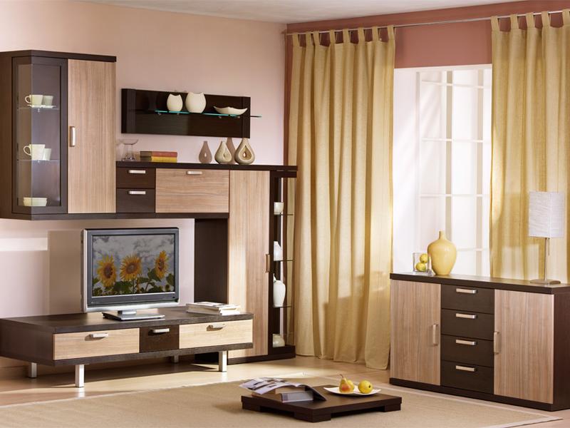древесная мебель в гостиной