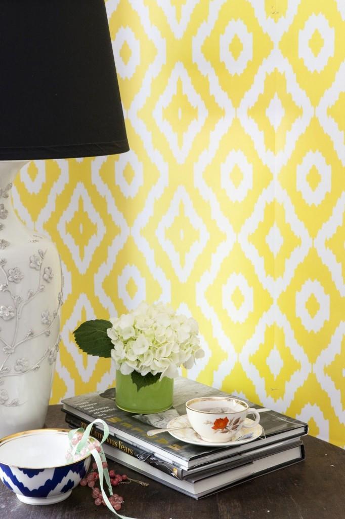 желтый орнамент для стен