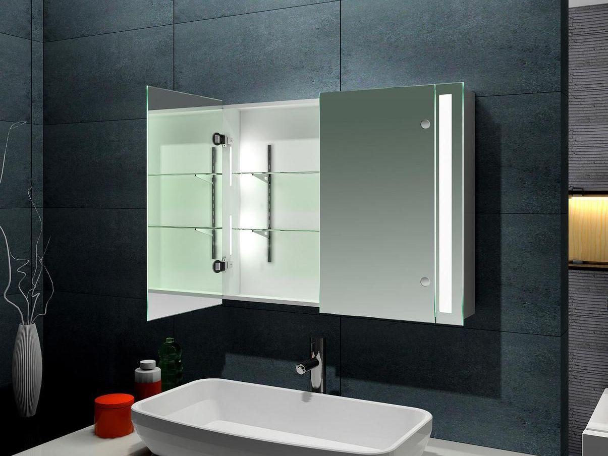 зеркальный шкаф для черной ванной