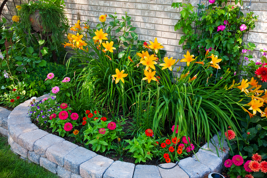 каменная кладка для ярких цветов