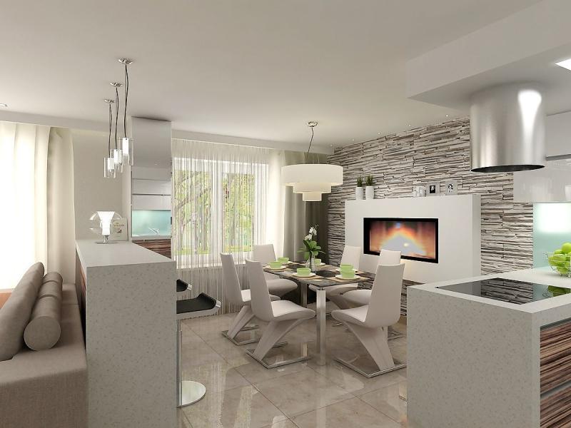 камин из натуральных материалов в гостиной