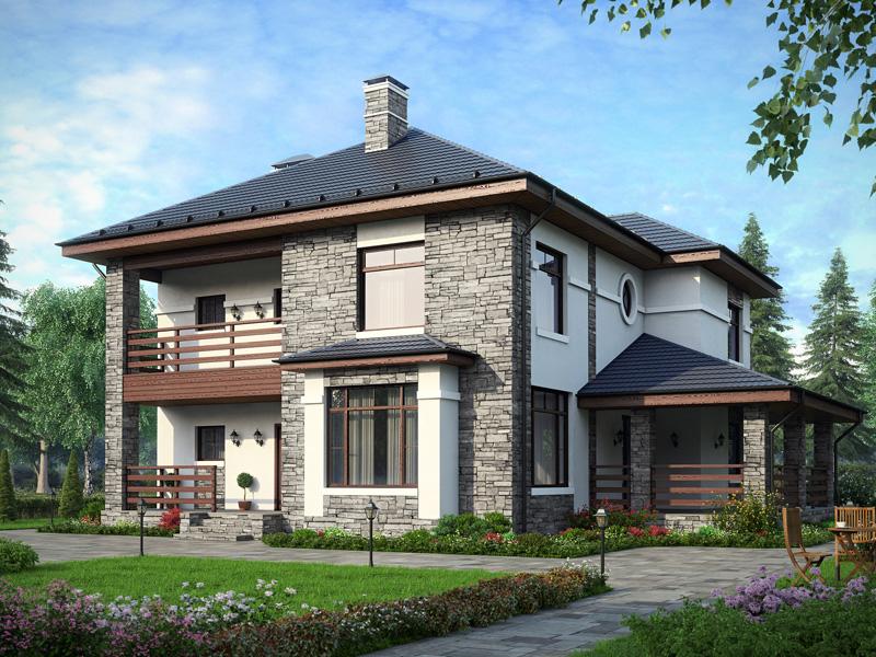 классический дом из декоративного кирпича