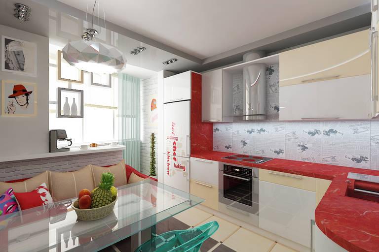кухня в белых и красных тонах