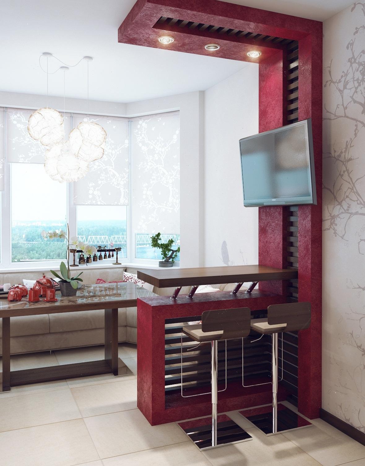 Дизайн кухни с эркером в японском стиле п44т. бордовая и гол.