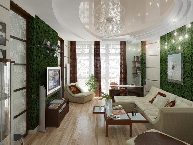 малахитовый декор стен в гостиной