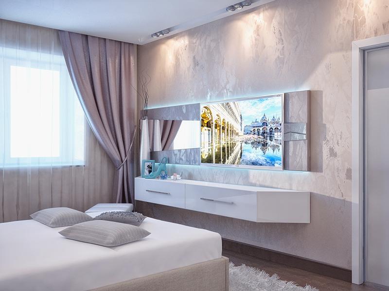 нежная сирень вм сочетании с белым придает уют современной спальне