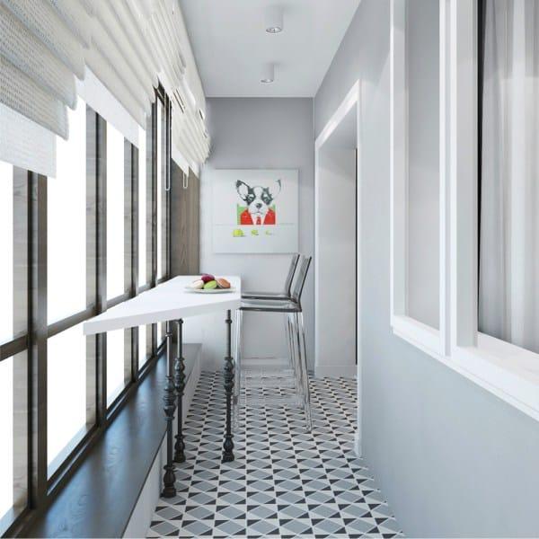 новомодная идея кухни на балконе