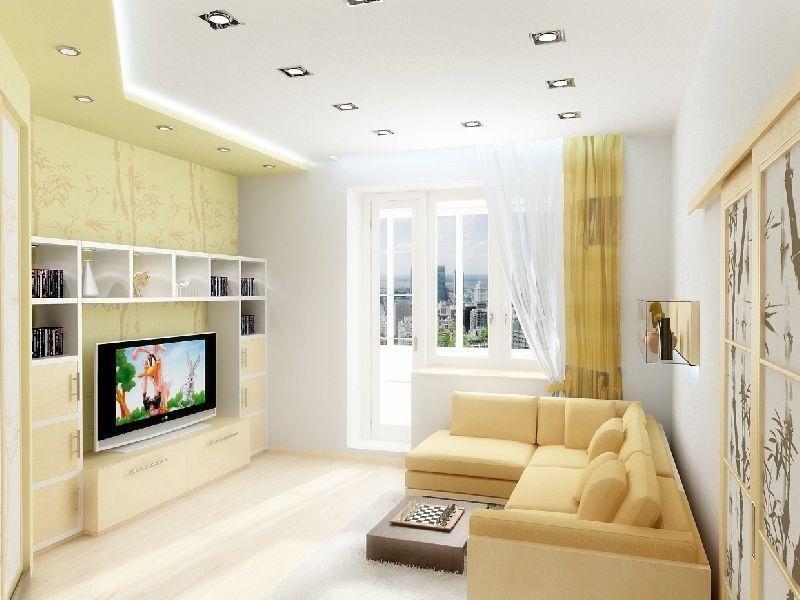 просторная гостиная с бежевыми элементами