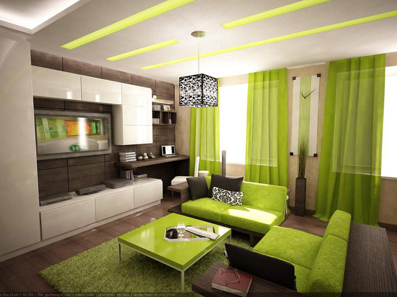 салатный цвет в оформлении комнаты