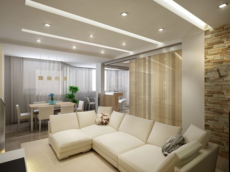 светлая гостиная с точечным освещением