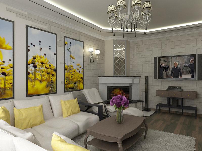 светло серый дизайн гостиной с яркими элементами