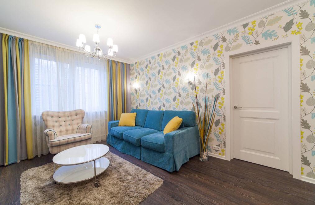 сине-желтая гостиная