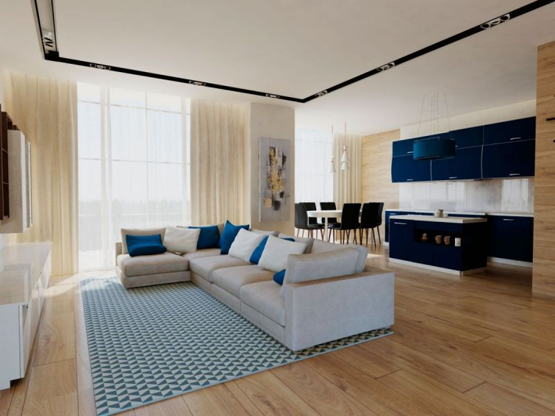 синие шкафы отлично сочетаются с бежевыми тонами гостиной