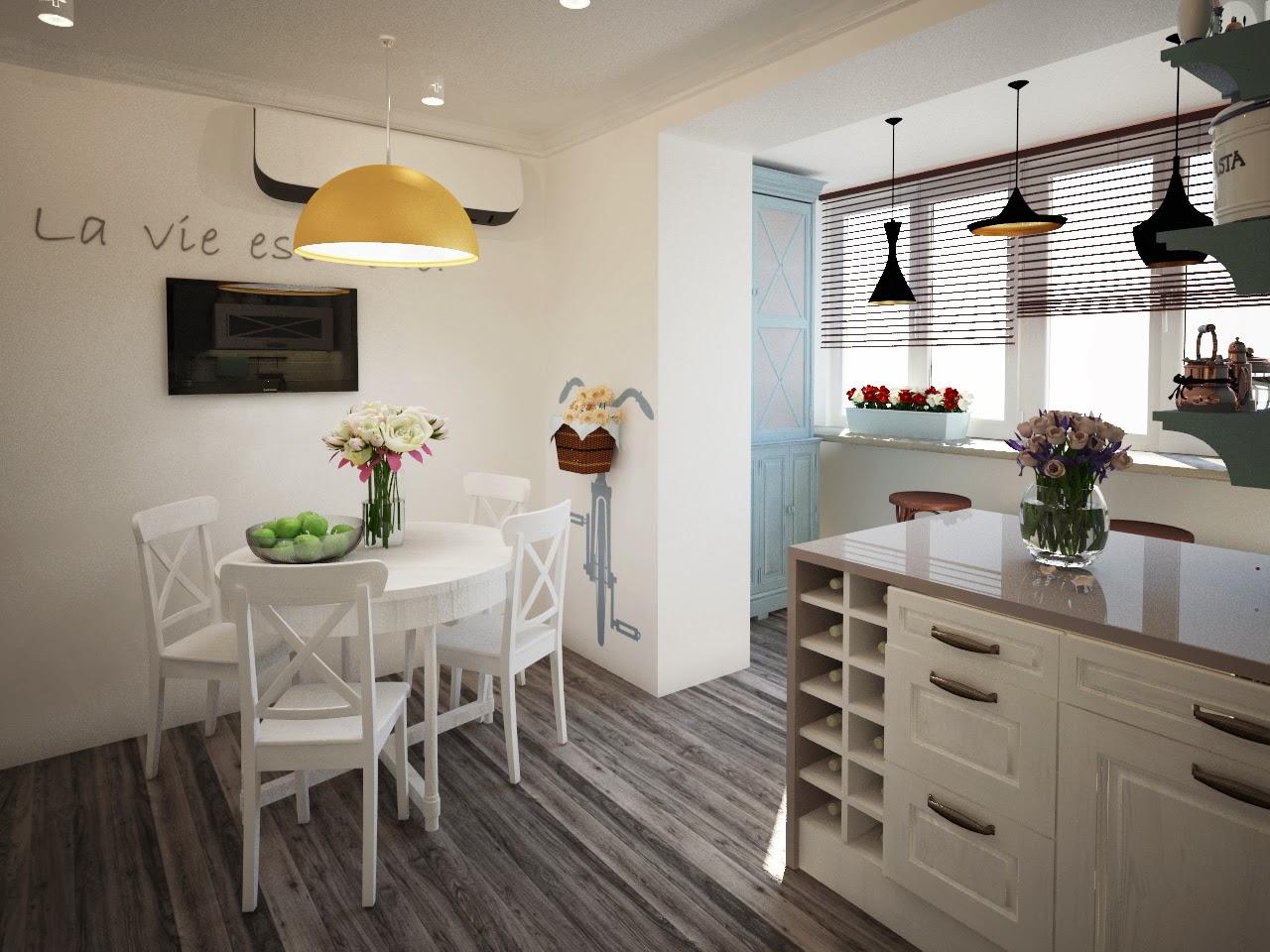 совмещенная кухня в стиле прованс