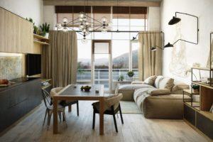 совмещенная кухня с панорамным окном