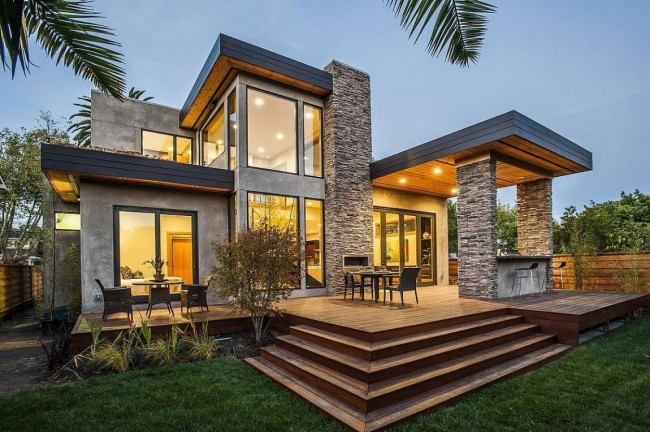 современный дом с точечным освещением