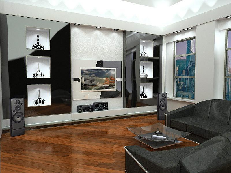 сочетание черно-белого с мягкой мебелью серого цвета
