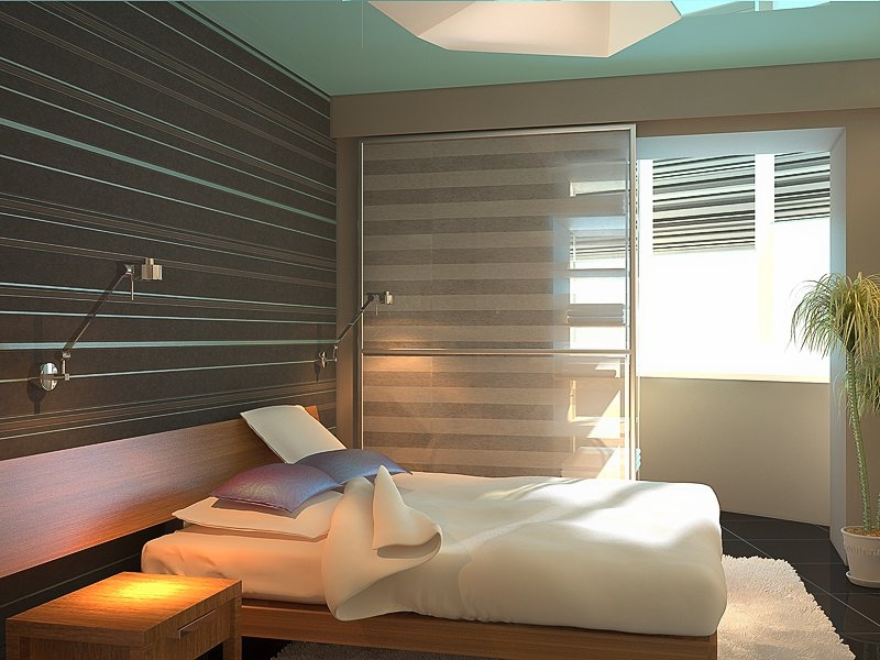 спальня со стеклянной перегородкой
