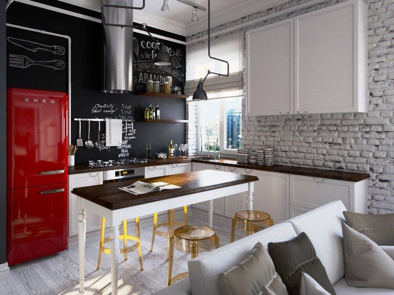 стены из кирпича в современном дизайне кухни
