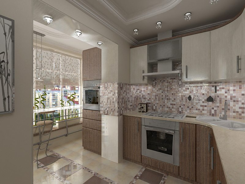 стильная кухня с балконом