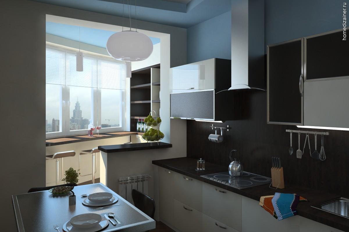 Кухня, объединенная с балконом: идеи и тонкости перепланиров.