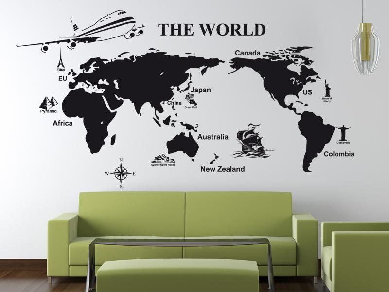 трафарет на стене с изображением карты мира