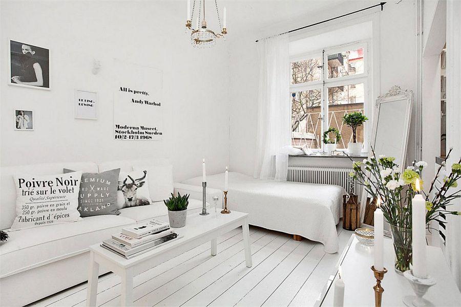 уютная белоснежная гостиная