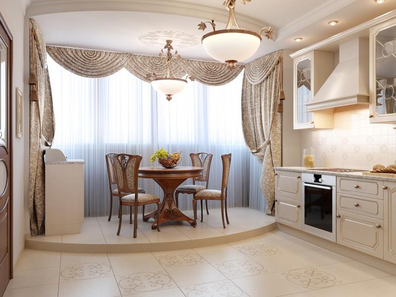 уютная обстановка на кухне с балконом