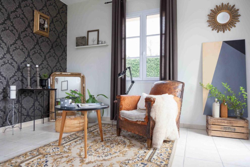 100 идеи обоев для гостиной