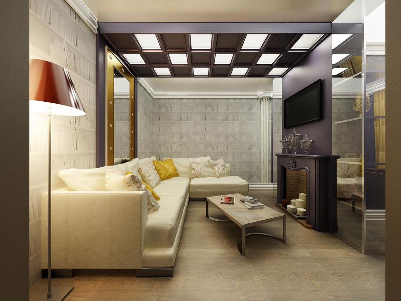 шахматный потолок в светлой гостиной