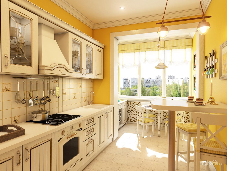 яркая кухня с балконом