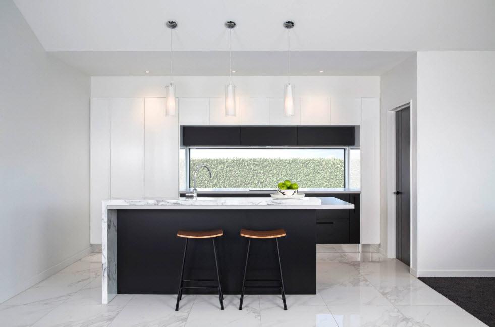 Бело-черный интерьер кухни