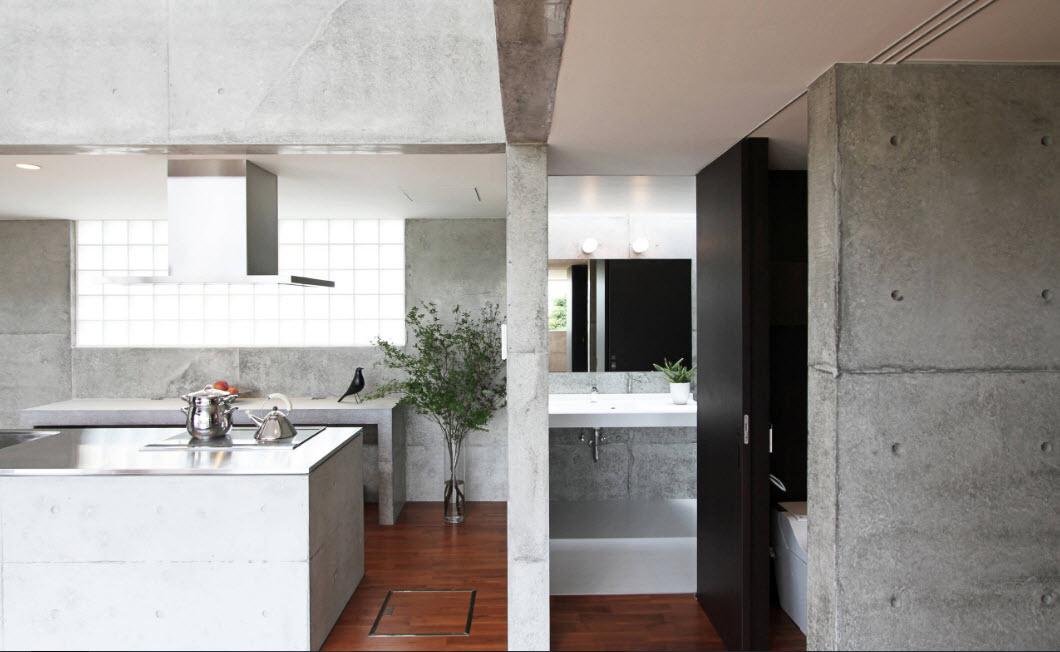 Бетонные поверхности в кухне