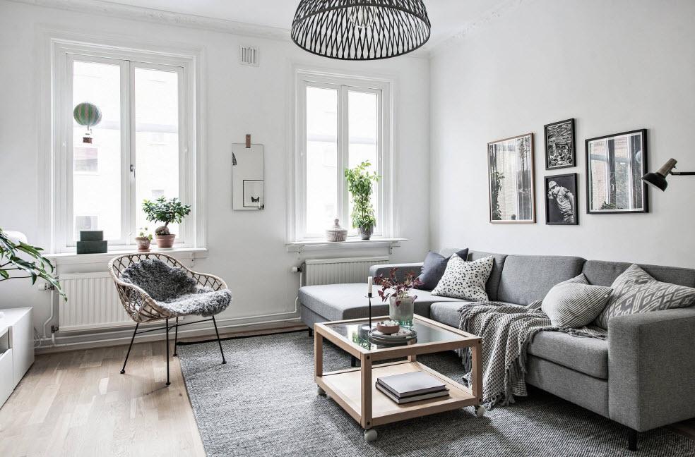 Бело-серый дизайн гостиной